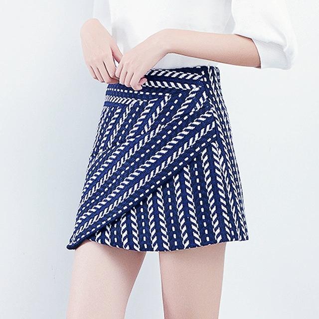 Шерстяная юбка в полоску