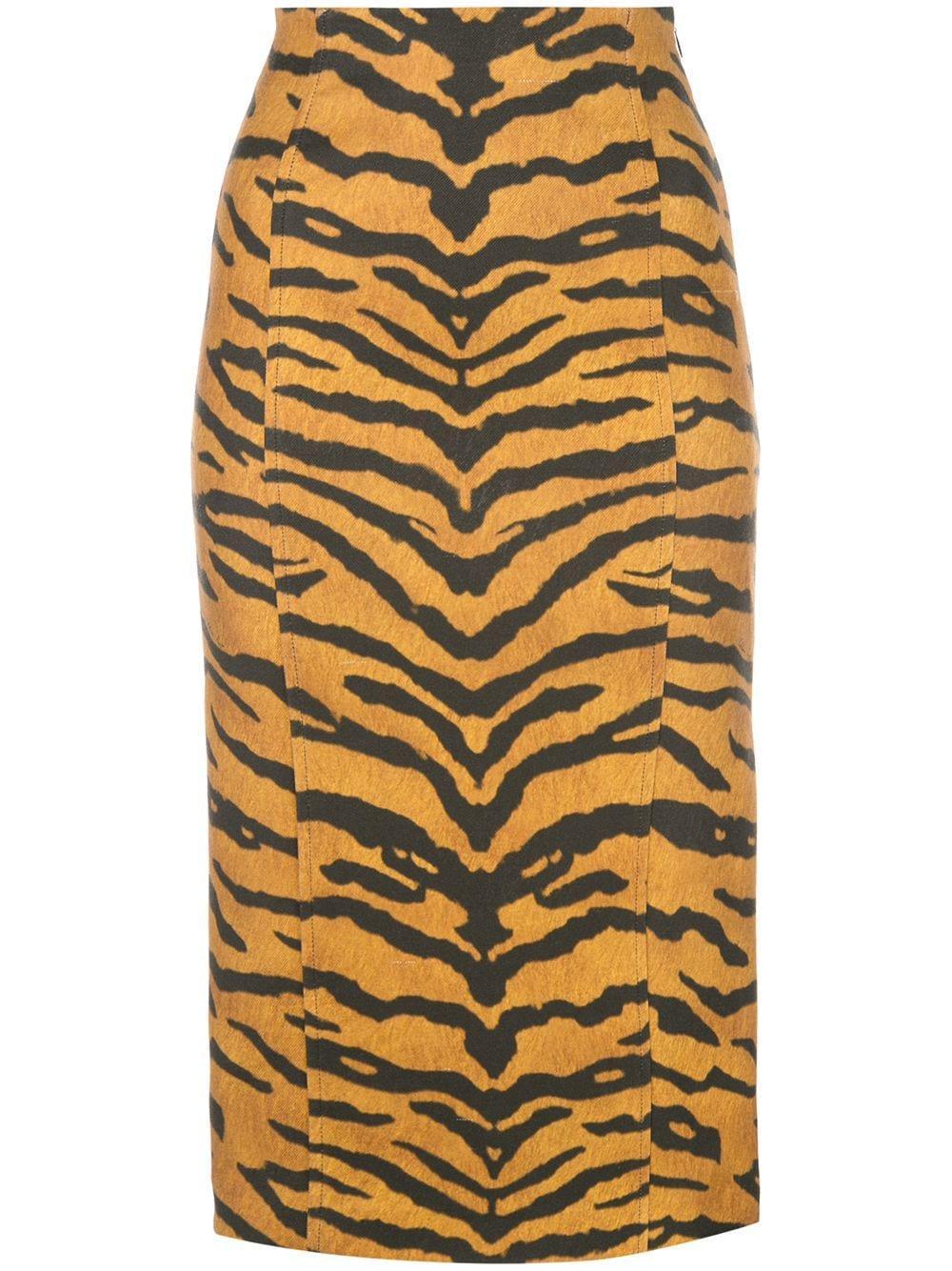 Adam Lippes юбка-карандаш с тигровым принтом