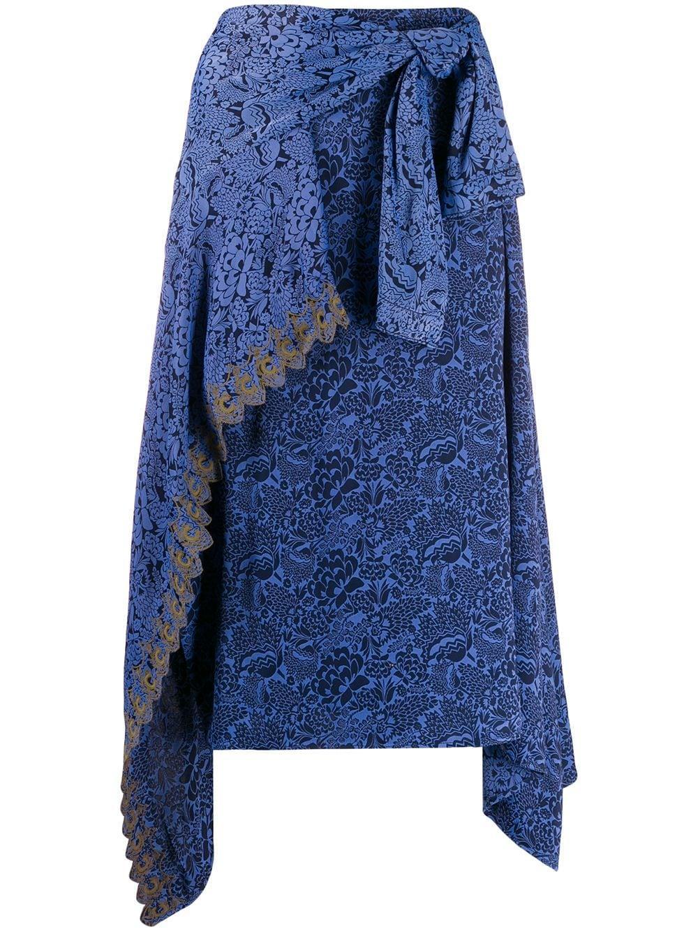 Chloé юбка с драпировкой и цветочным принтом