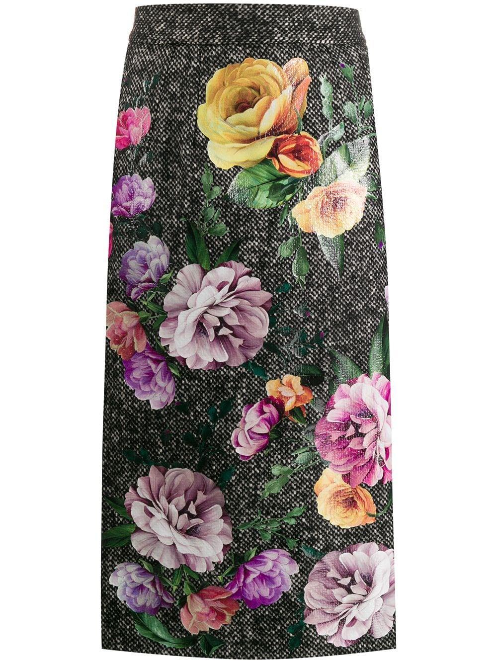 Dolce & Gabbana твидовая юбка с цветочным принтом