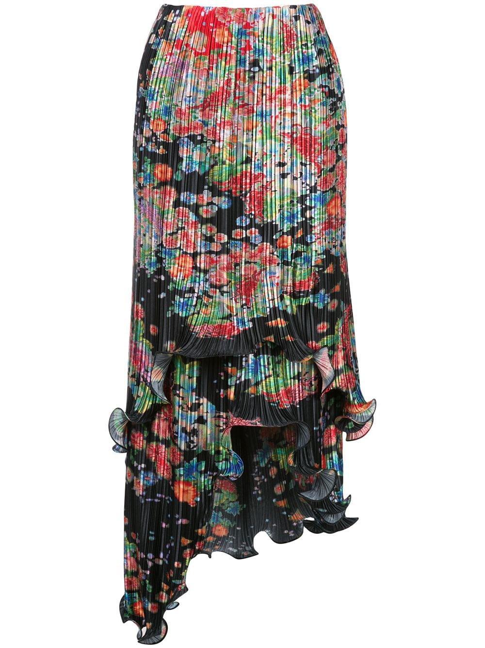 Givenchy плиссированная юбка асимметричного кроя с принтом