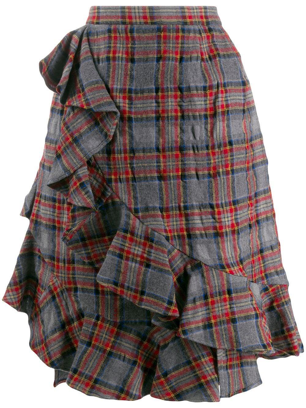 Julien David клетчатая юбка мини с оборками
