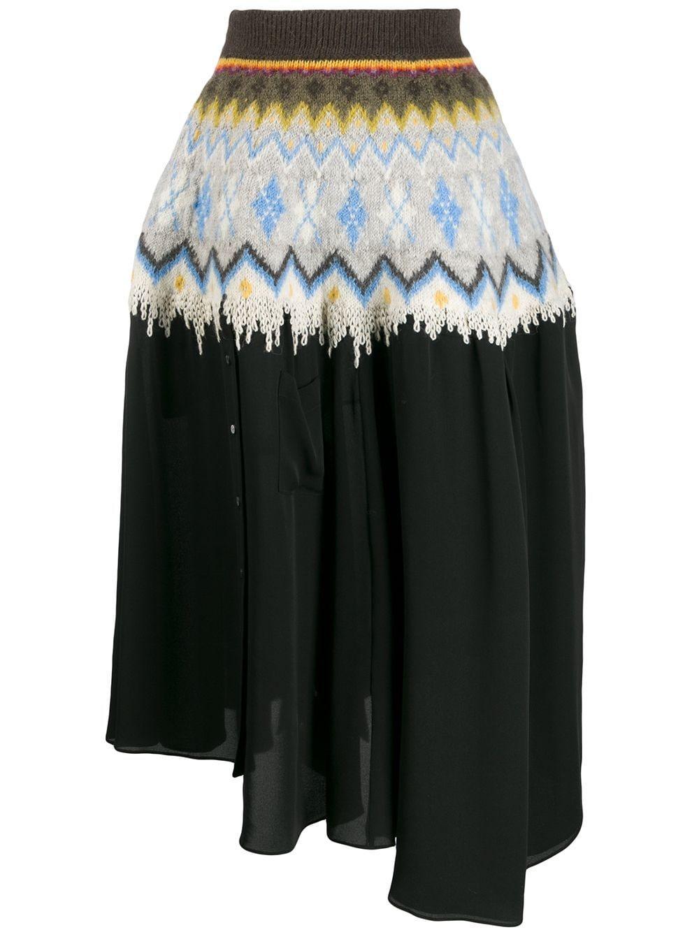 Loewe юбка асимметричного кроя с графичным принтом