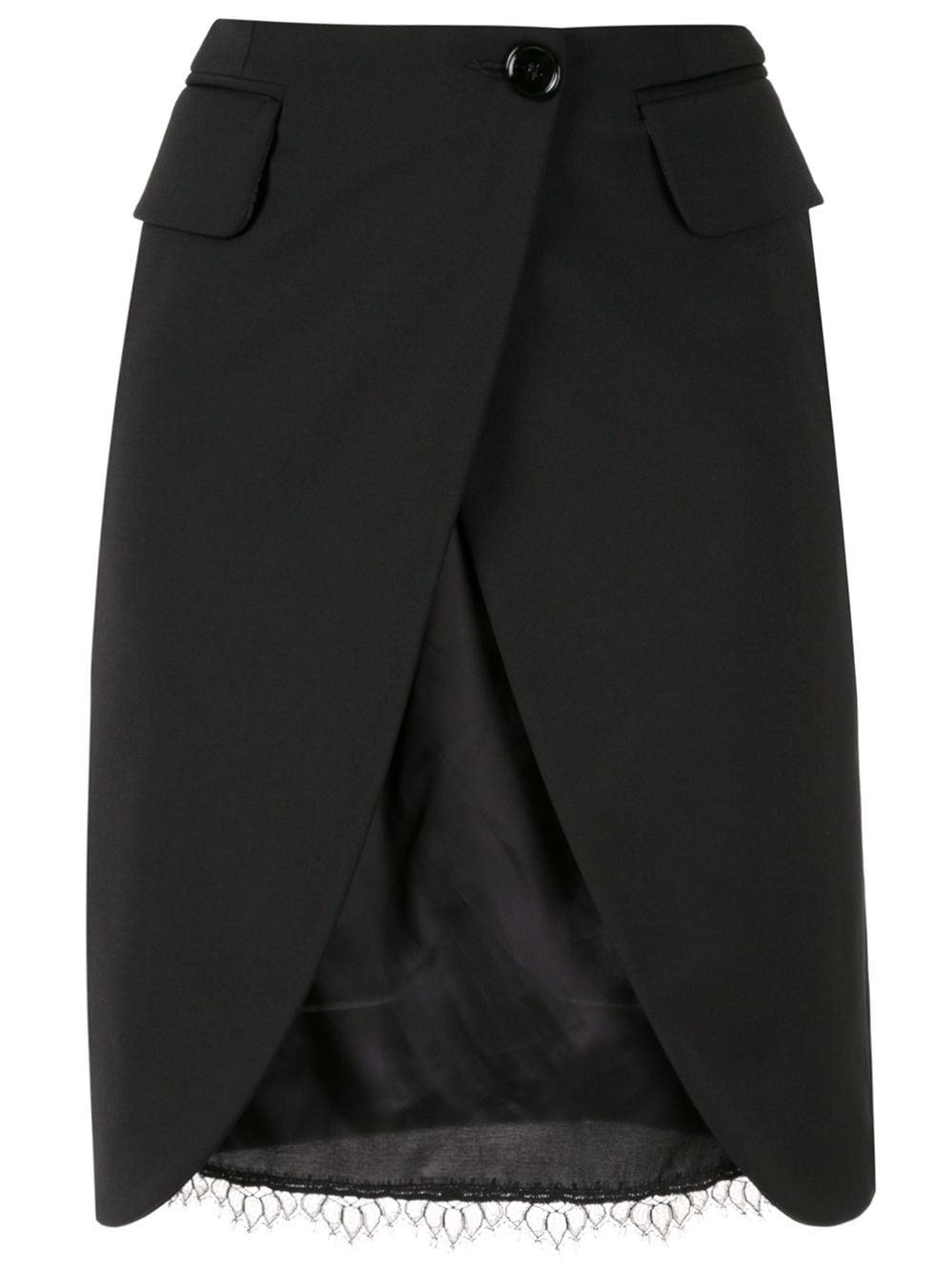 Mm6 Maison Margiela двухслойная юбка с разрезом спереди