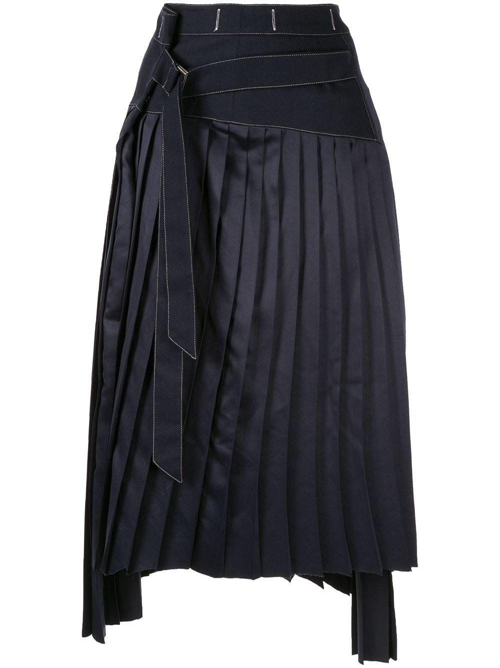 Moon J asymmetric pleated skirt