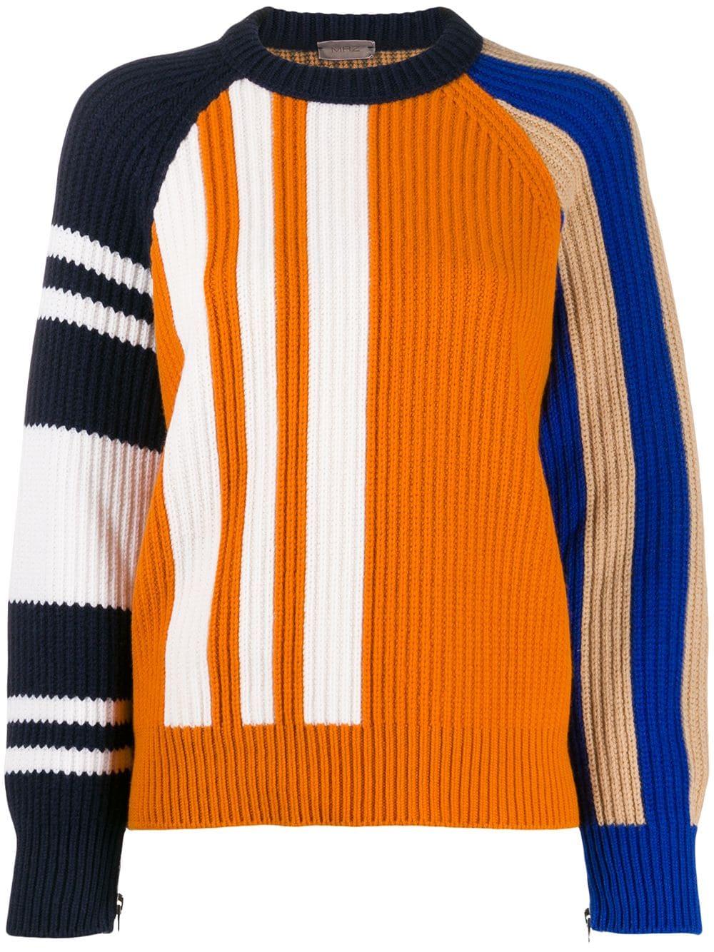 MRZ colour-block ribbed jumper