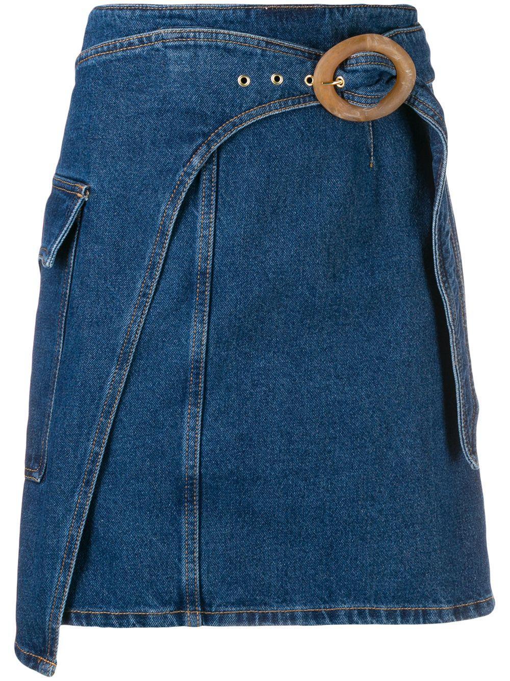 Nanushka джинсовая юбка с пряжкой