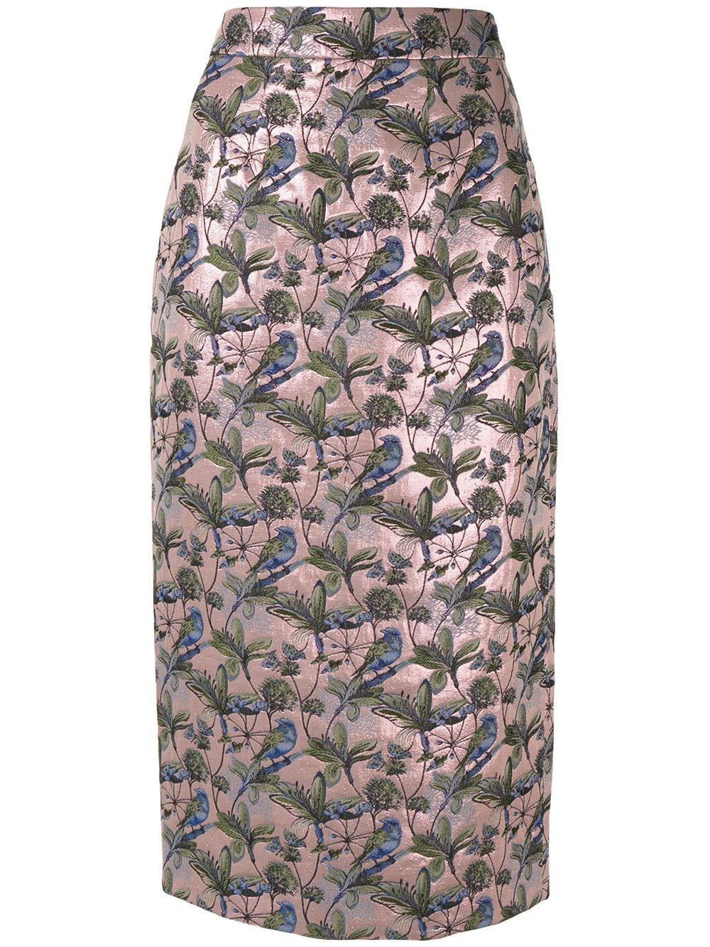 Shanghai Tang жаккардовая юбка-карандаш с цветочным узором