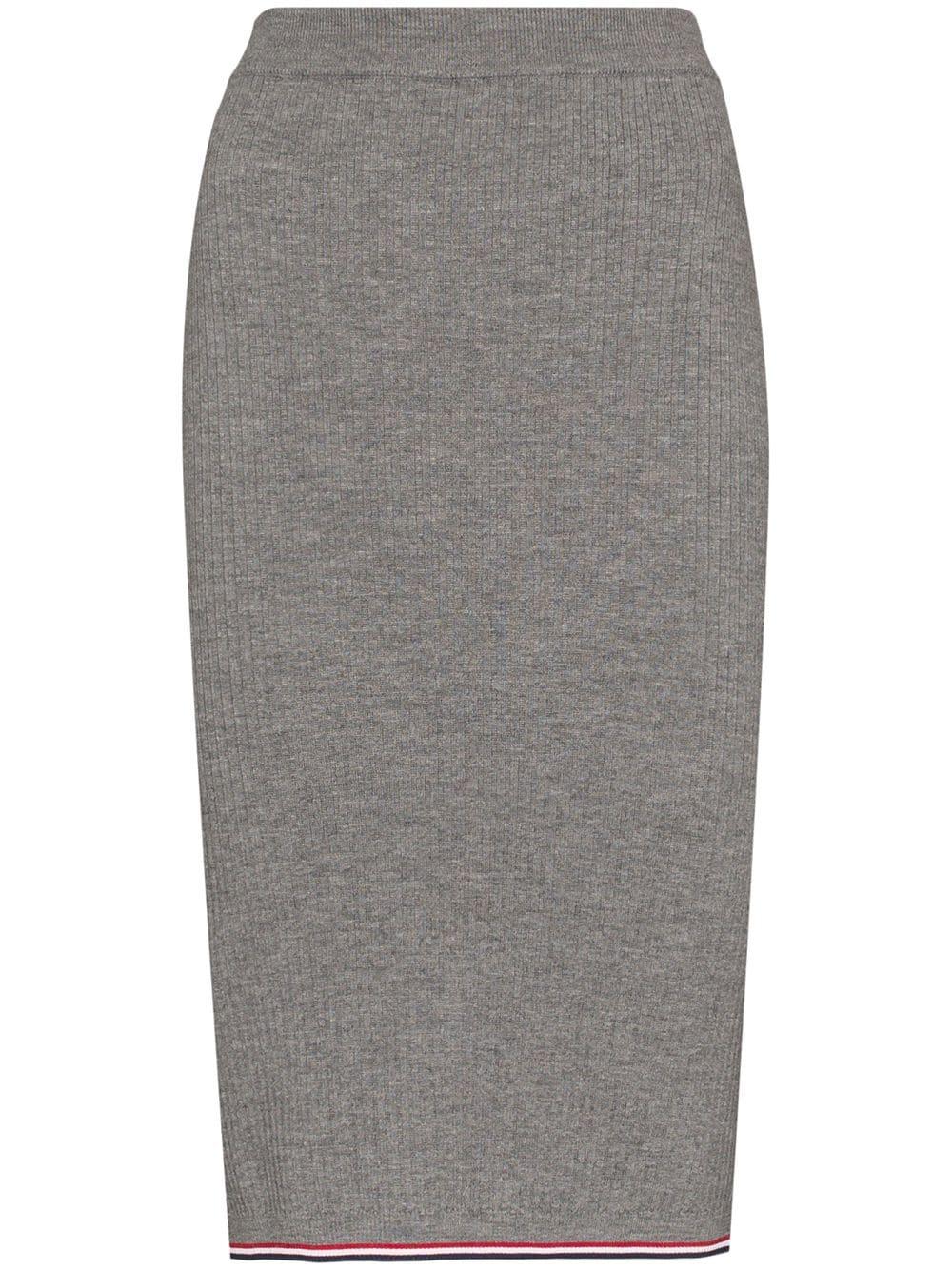 Thom Browne tri-stripe detail ribbed pencil skirt