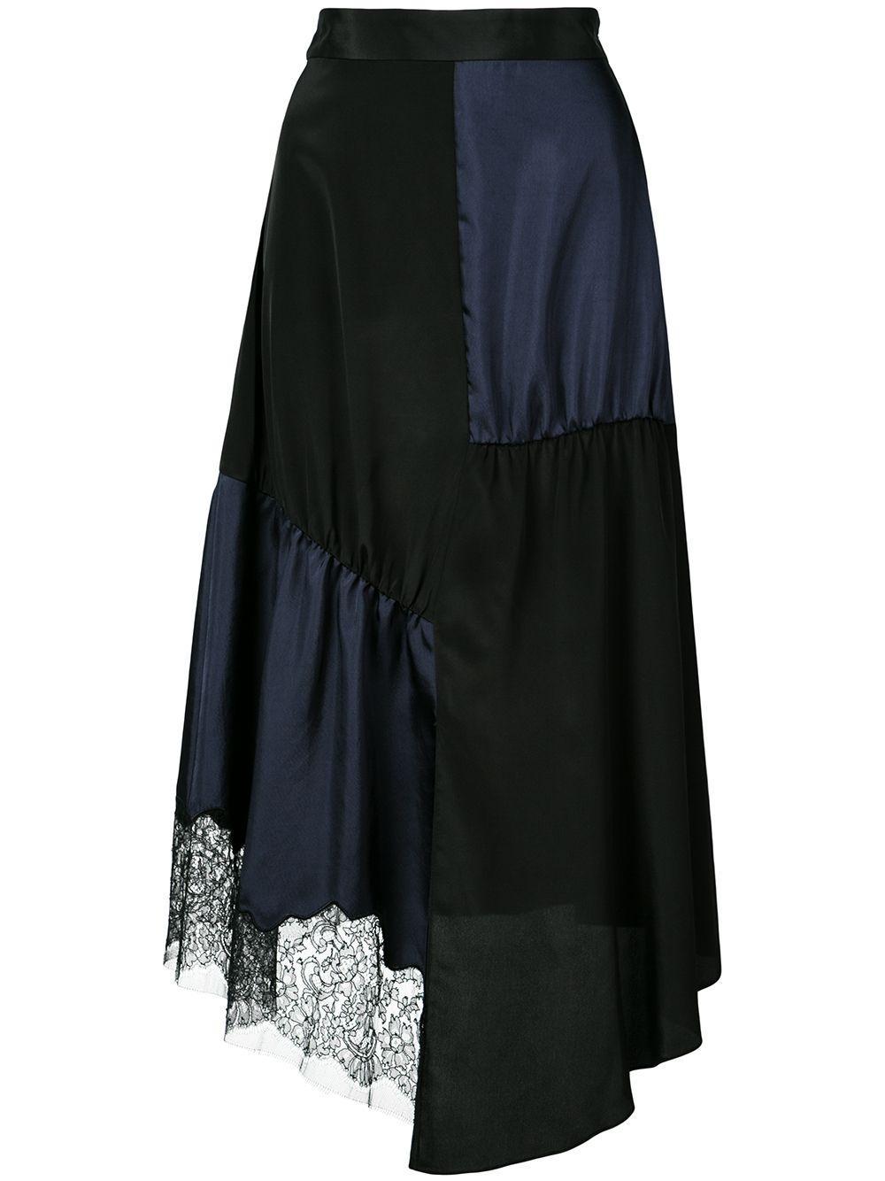 Tibi юбка асимметричного кроя в технике пэчворк