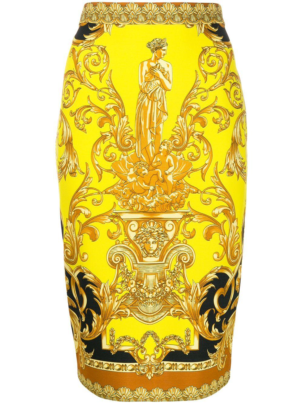 Versace baroque-print fitted midi skirt