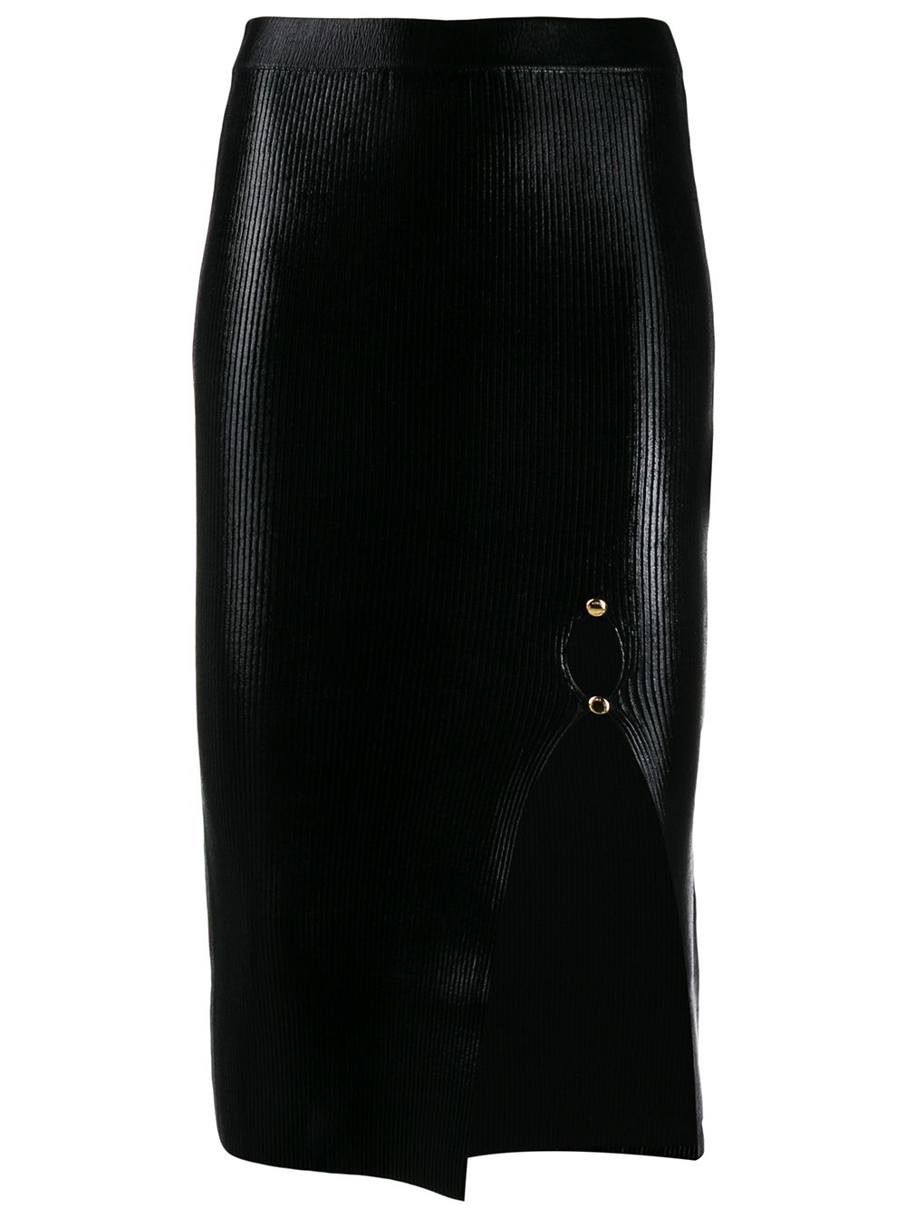 Versace Jeans Couture laminated-texture midi skirt