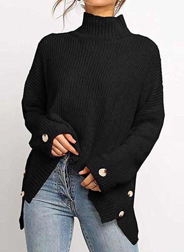 Черный Вязаный свитер  с горлом зима 2020