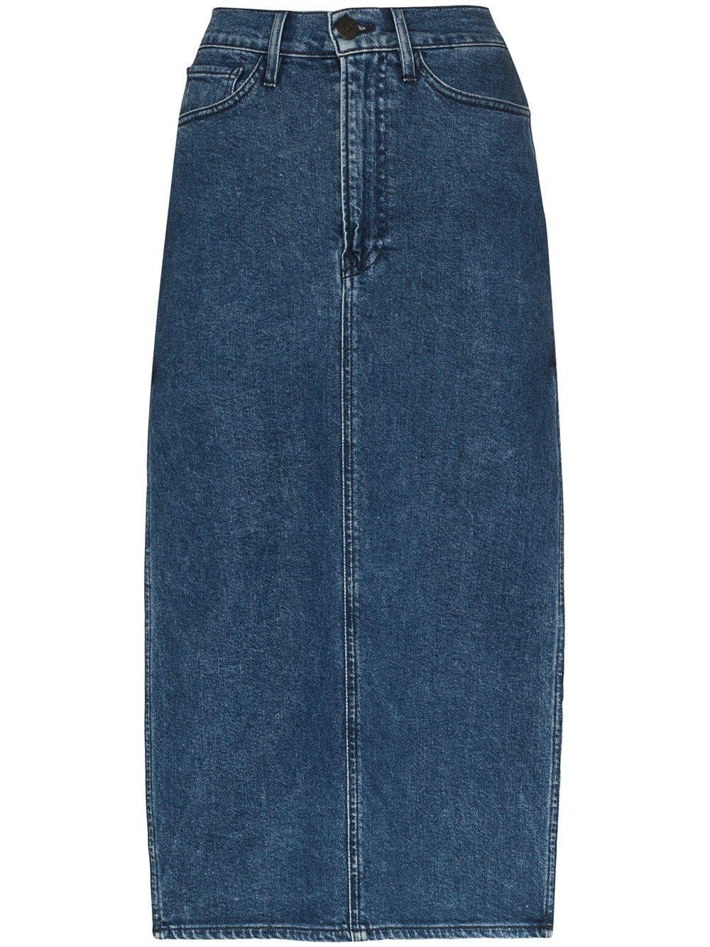 3x1 Cami side split denim midi skirt