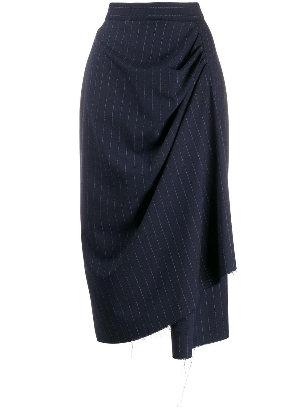 Act N°1 asymmetric pinstriped pencil skirt