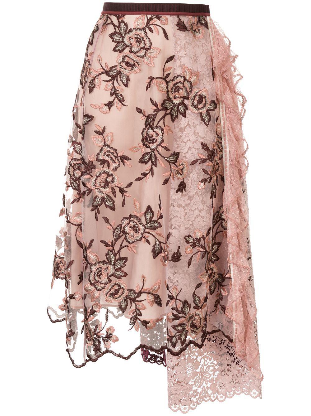 Antonio Marras floral lace midi skirt