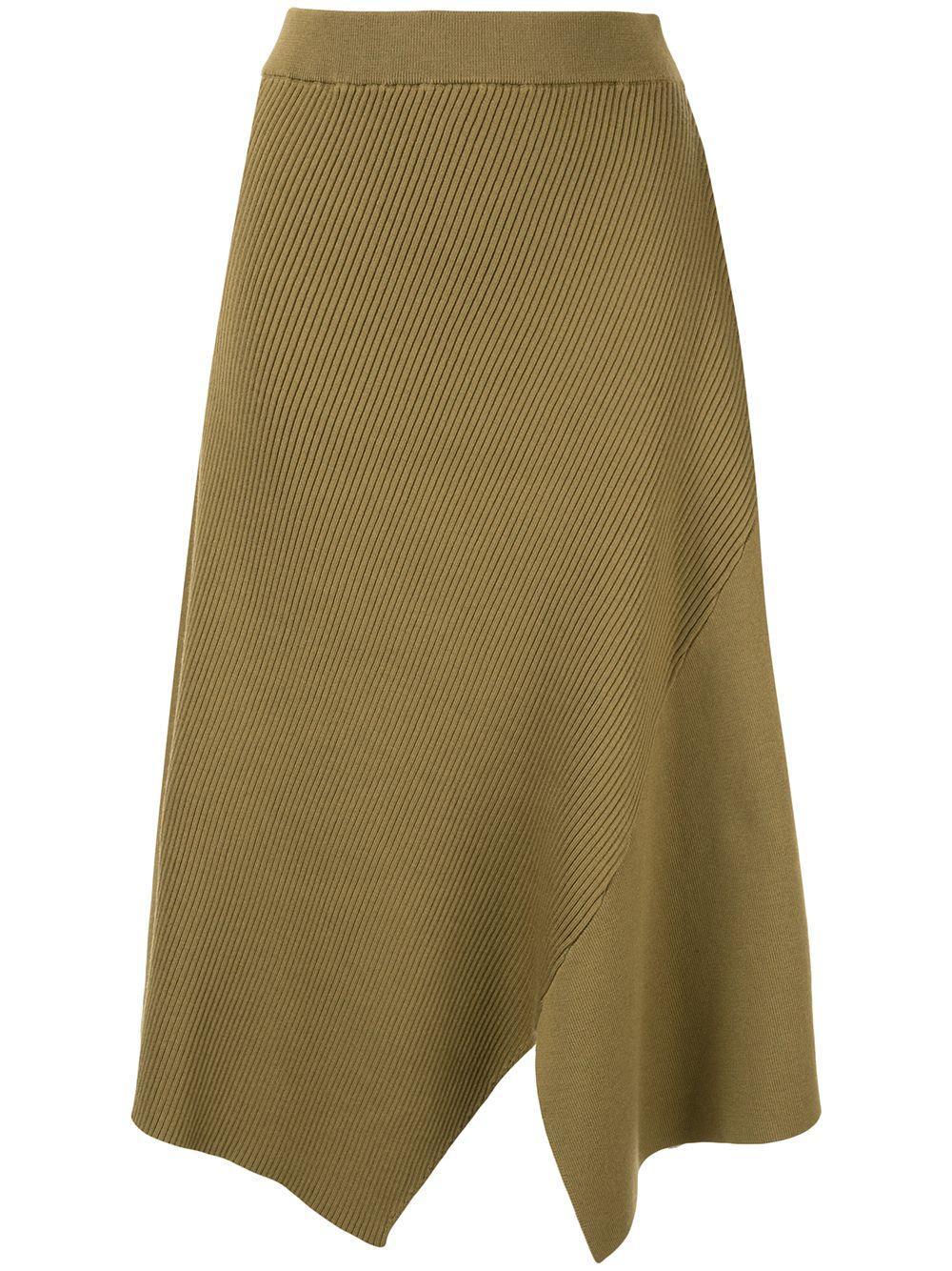 Des Prés asymmetric ribbed skirt