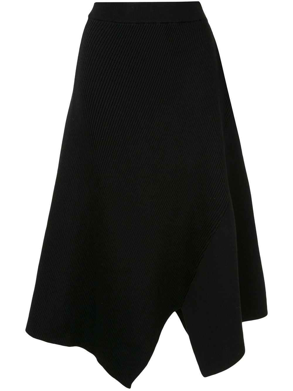 Des Prés ribbed asymmetric skirt