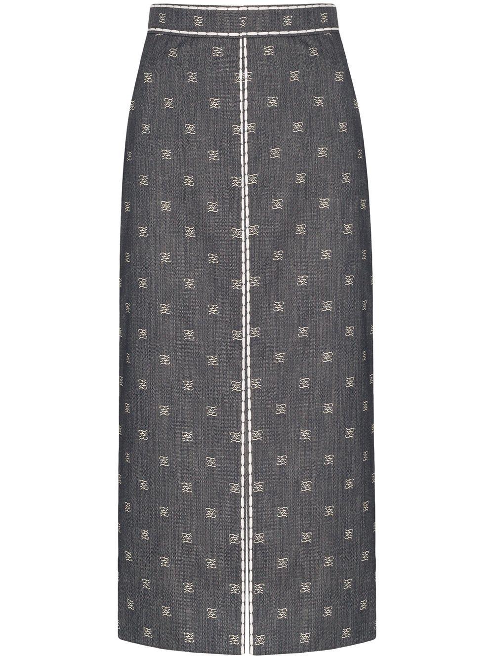 Fendi  Karligraphy denim pencil skirt