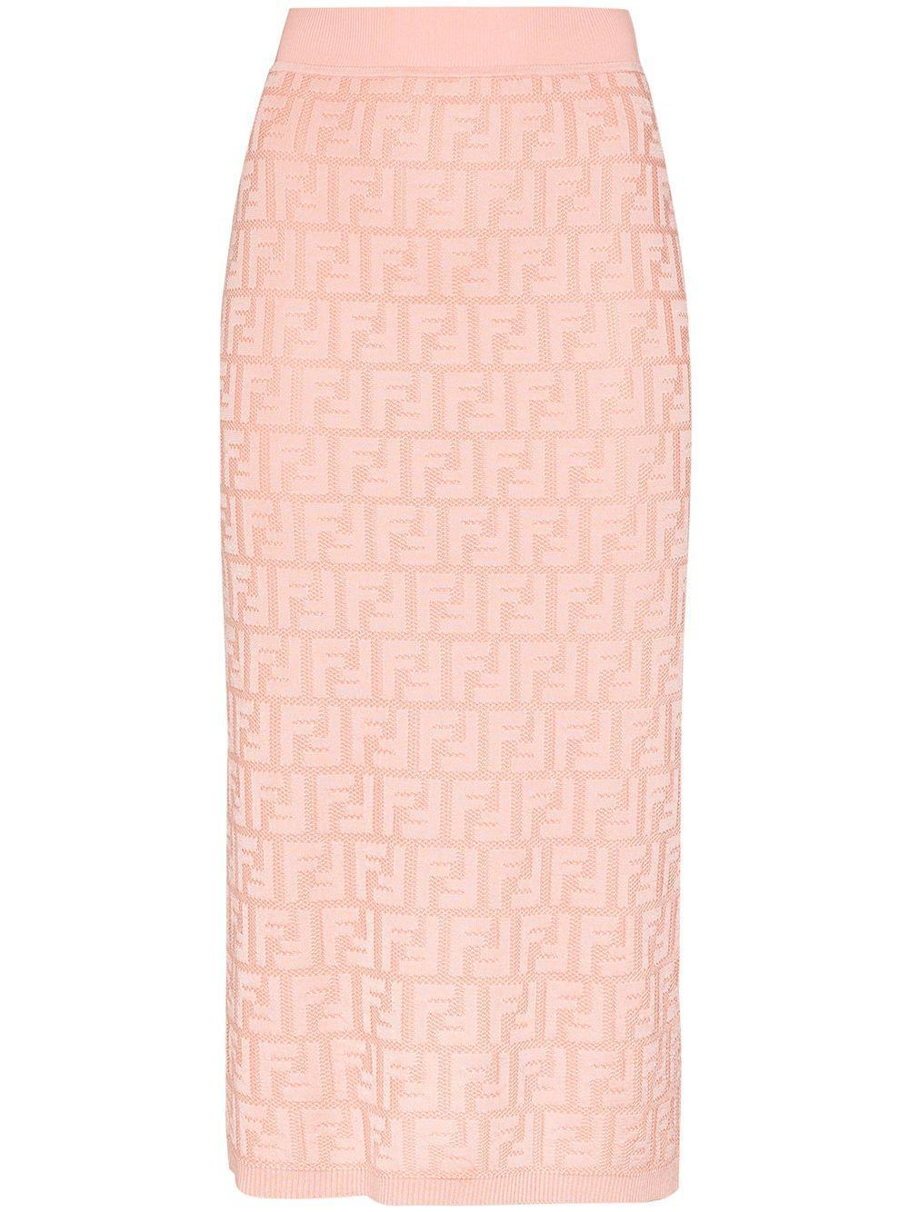 Fendi logo jacquard pencil skirt