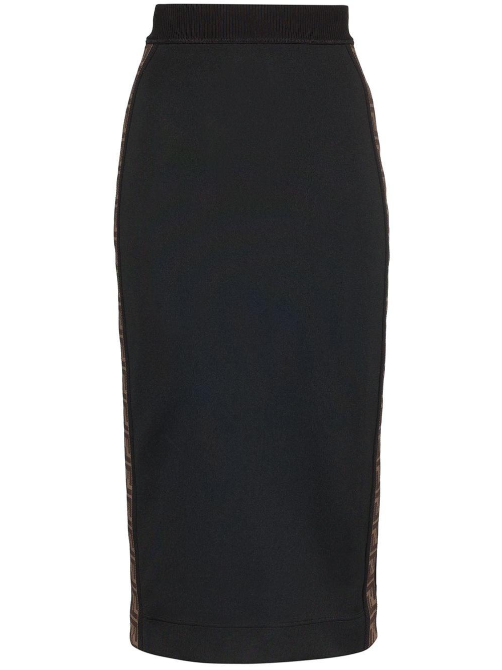 Fendi юбка-карандаш в полоску с логотипом