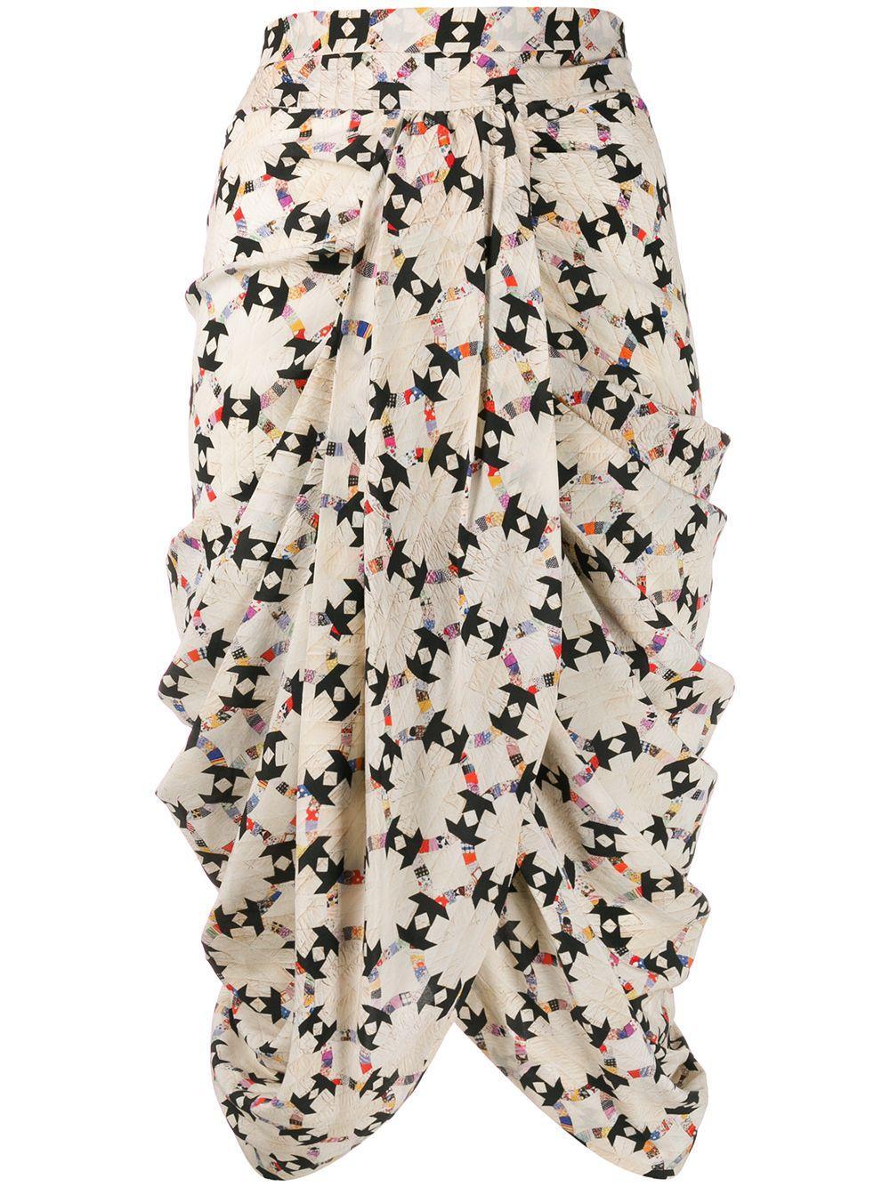 Isabel Marant стеганая юбка миди с драпировкой