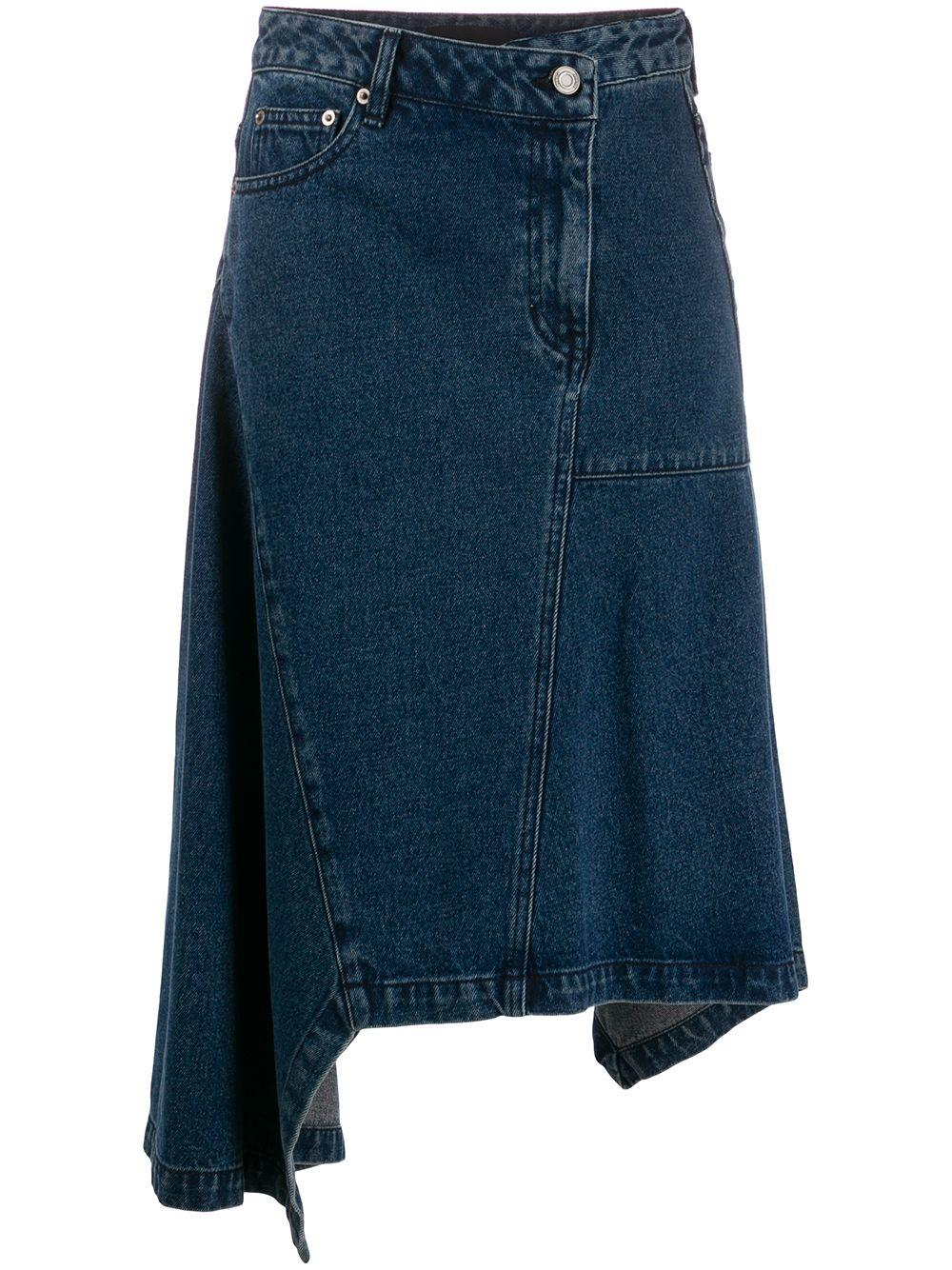 Juun.J asymmetric denim skirt