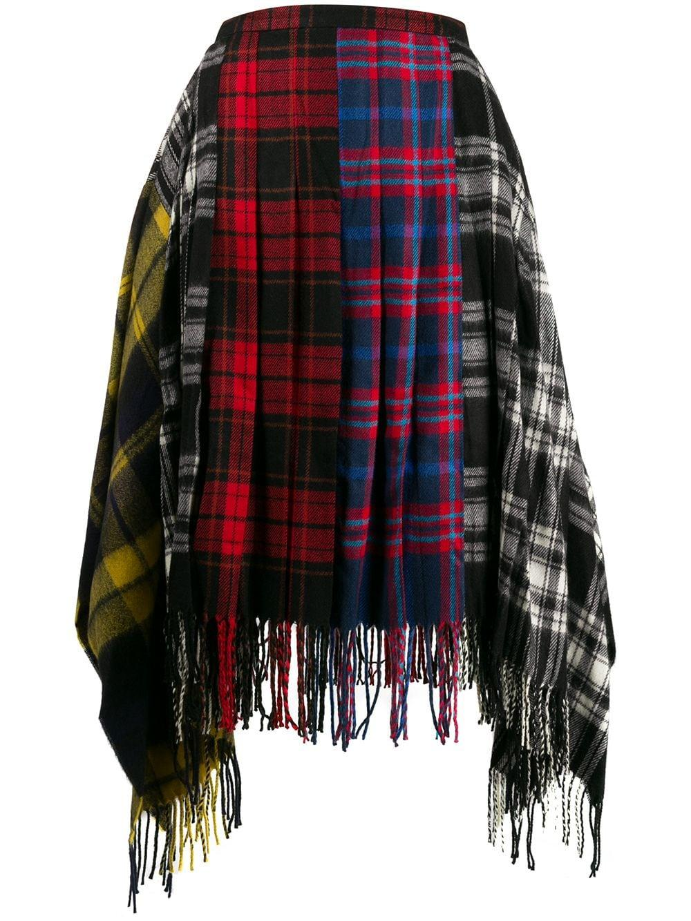 Juun.J plaid patterned fringed skirt