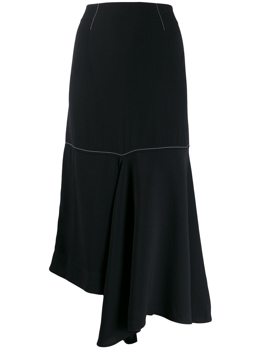 Marni юбка миди асимметричного кроя с контрастной строчкой