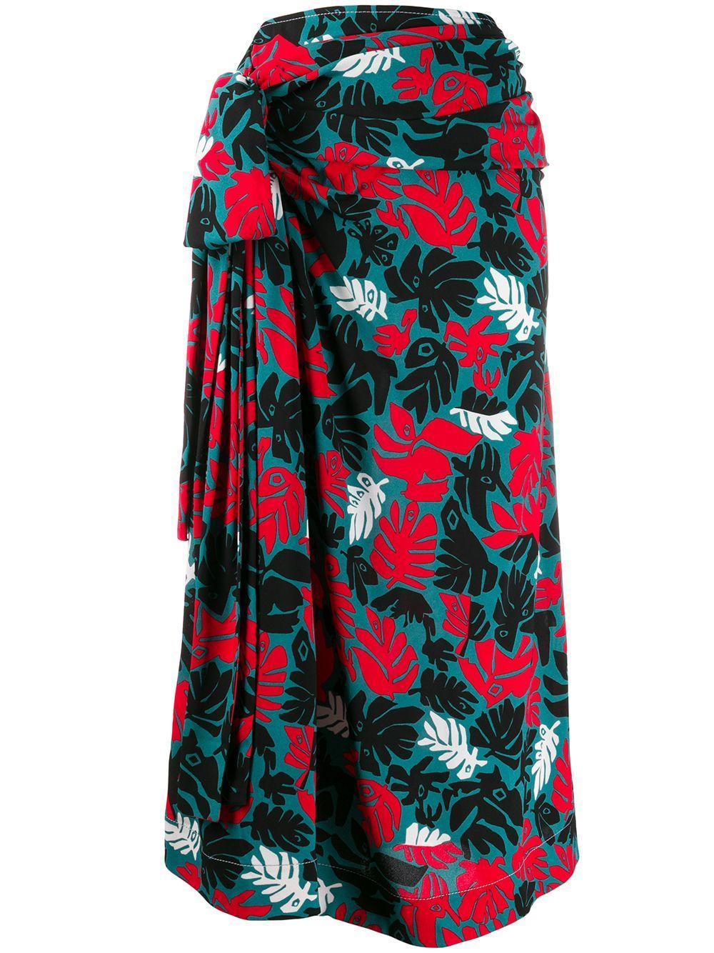 Marni юбка с запахом и принтом