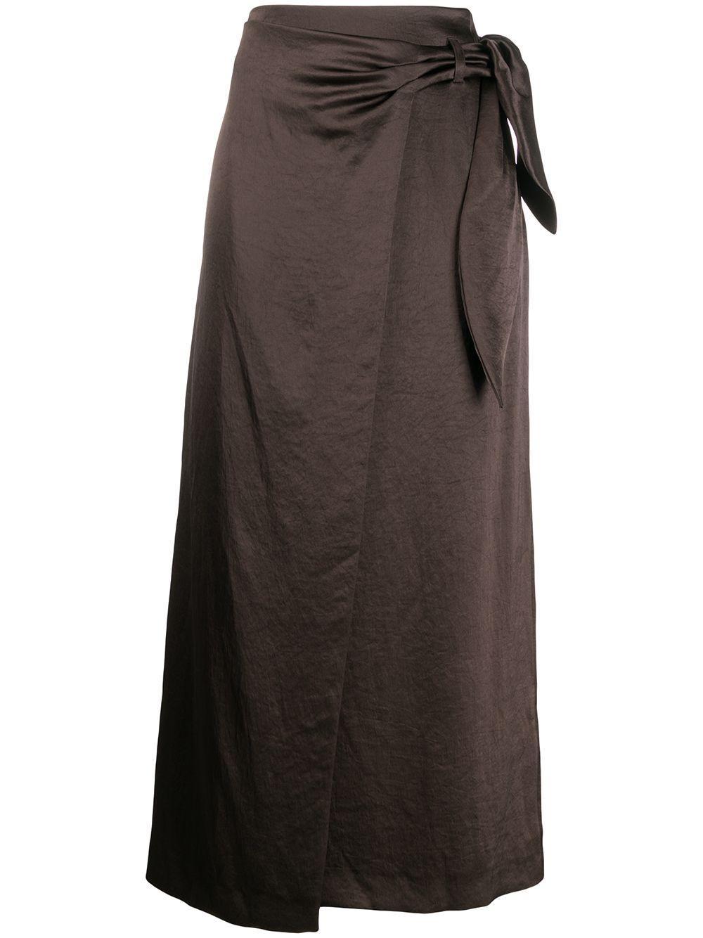Nanushka атласная юбка с запахом