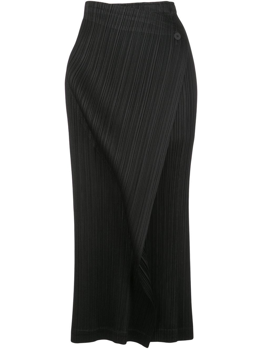 Pleats Please Issey Miyake плиссированная юбка миди с запахом