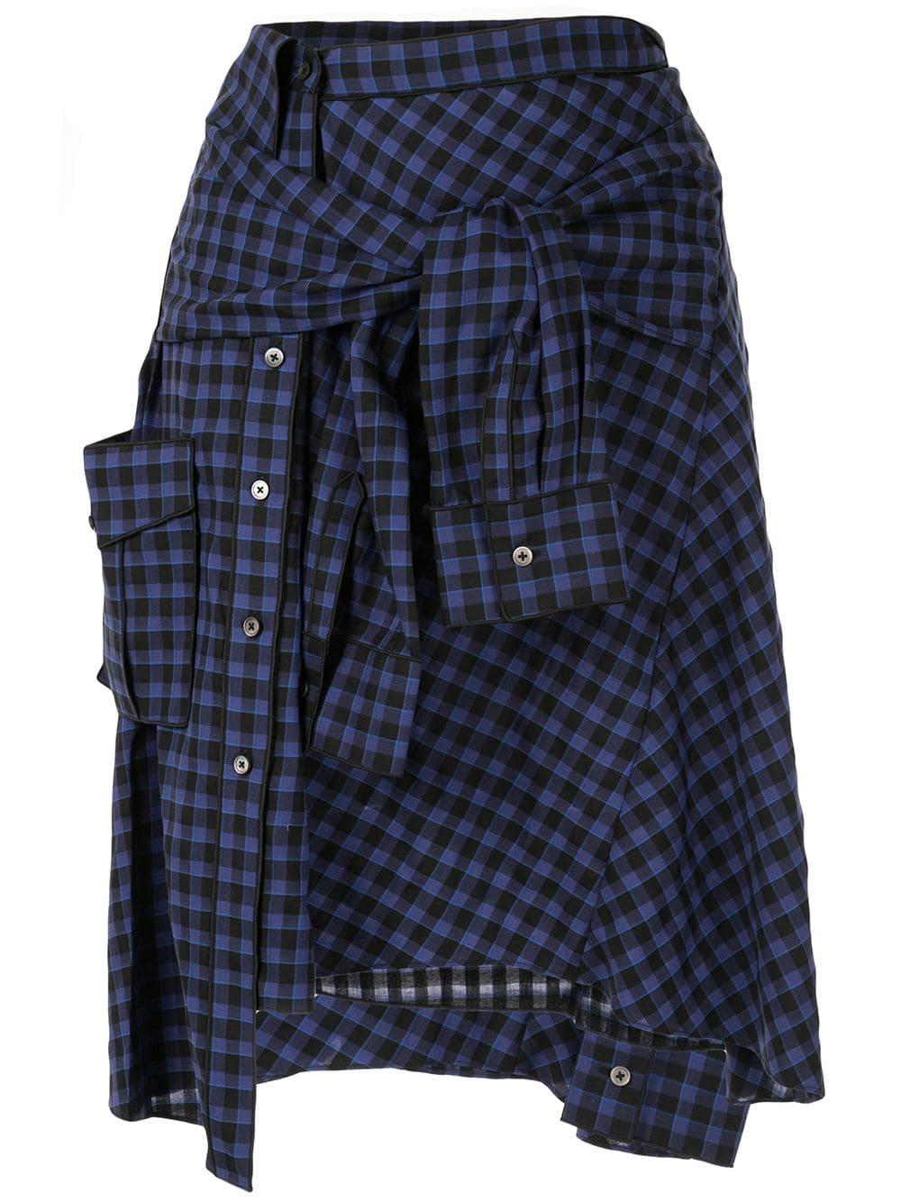 PortsPURE клетчатая юбка с завязкой спереди