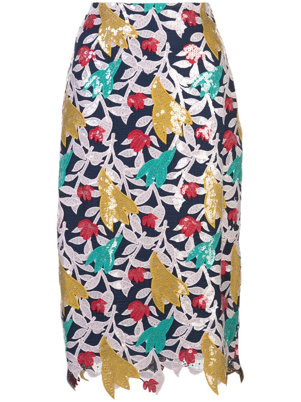Prabal Gurung floral appliqué pencil skirt