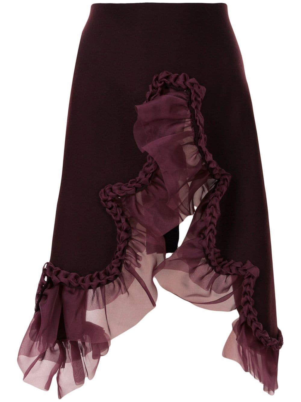 Roberts Wood ruffle wrap midi skirt