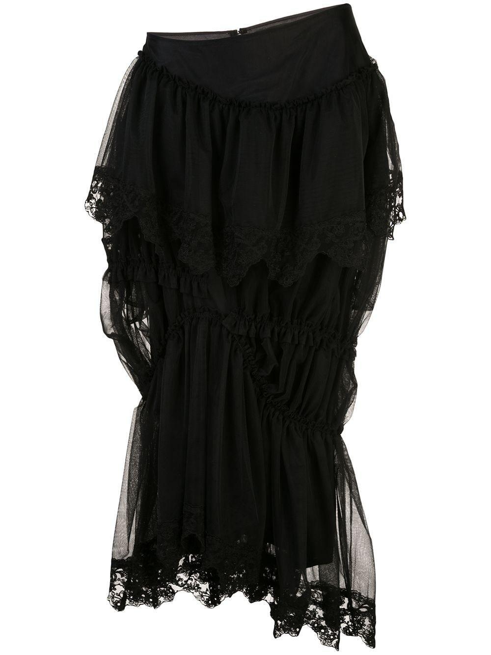 Simone Rocha юбка асимметричн��го кроя со вставками из тюля