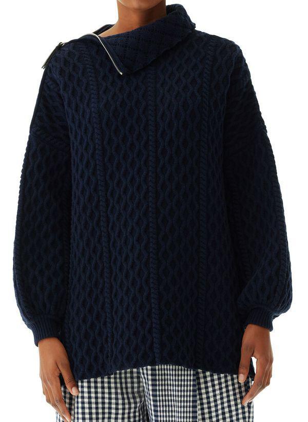Вязаный черный свитер с горлом осень/зима 2019-2020