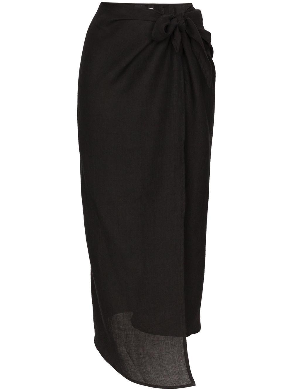 Anemone wrap front midi skirt