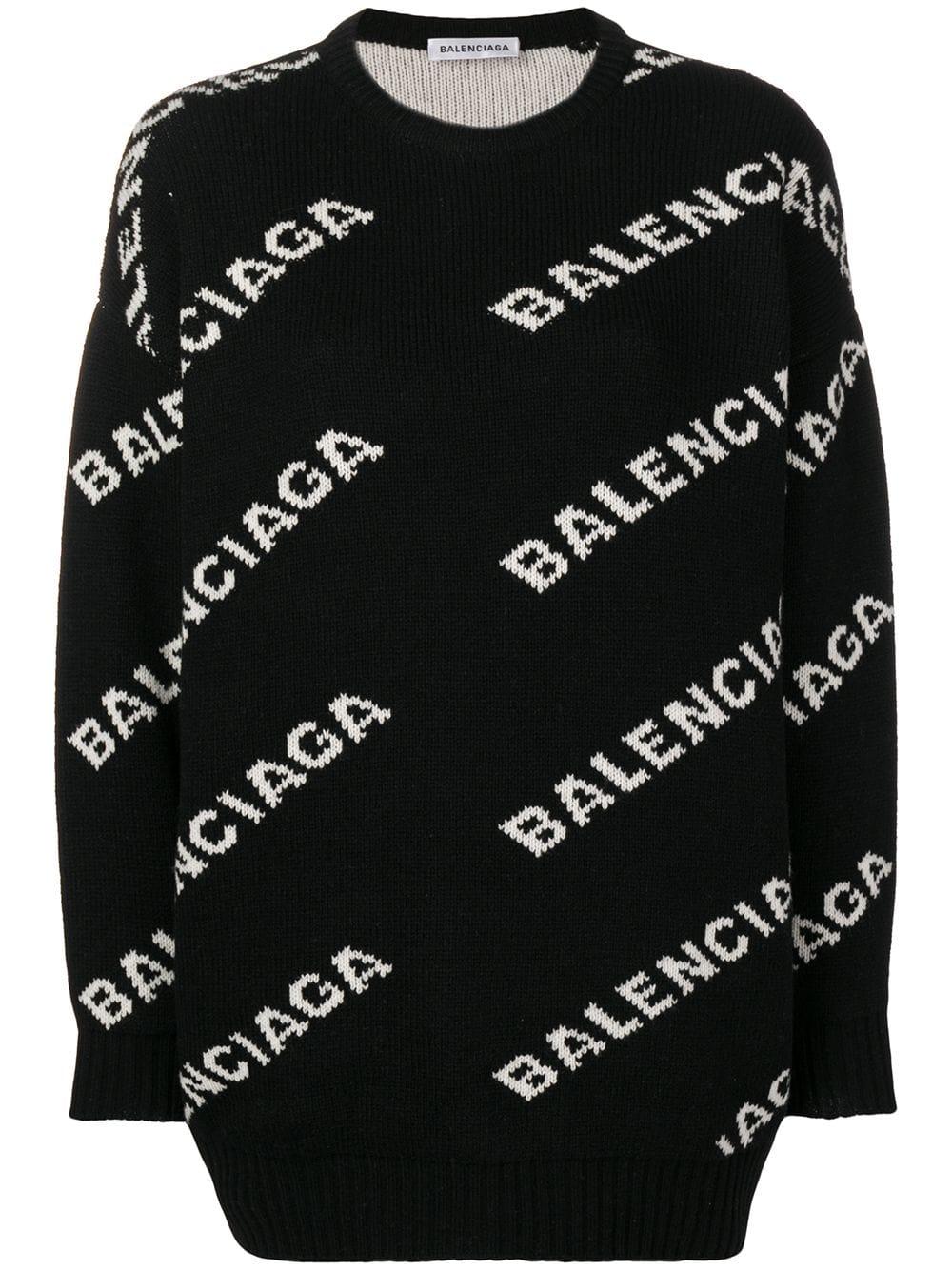 Balenciaga джемпер вязки интарсия с логотипом