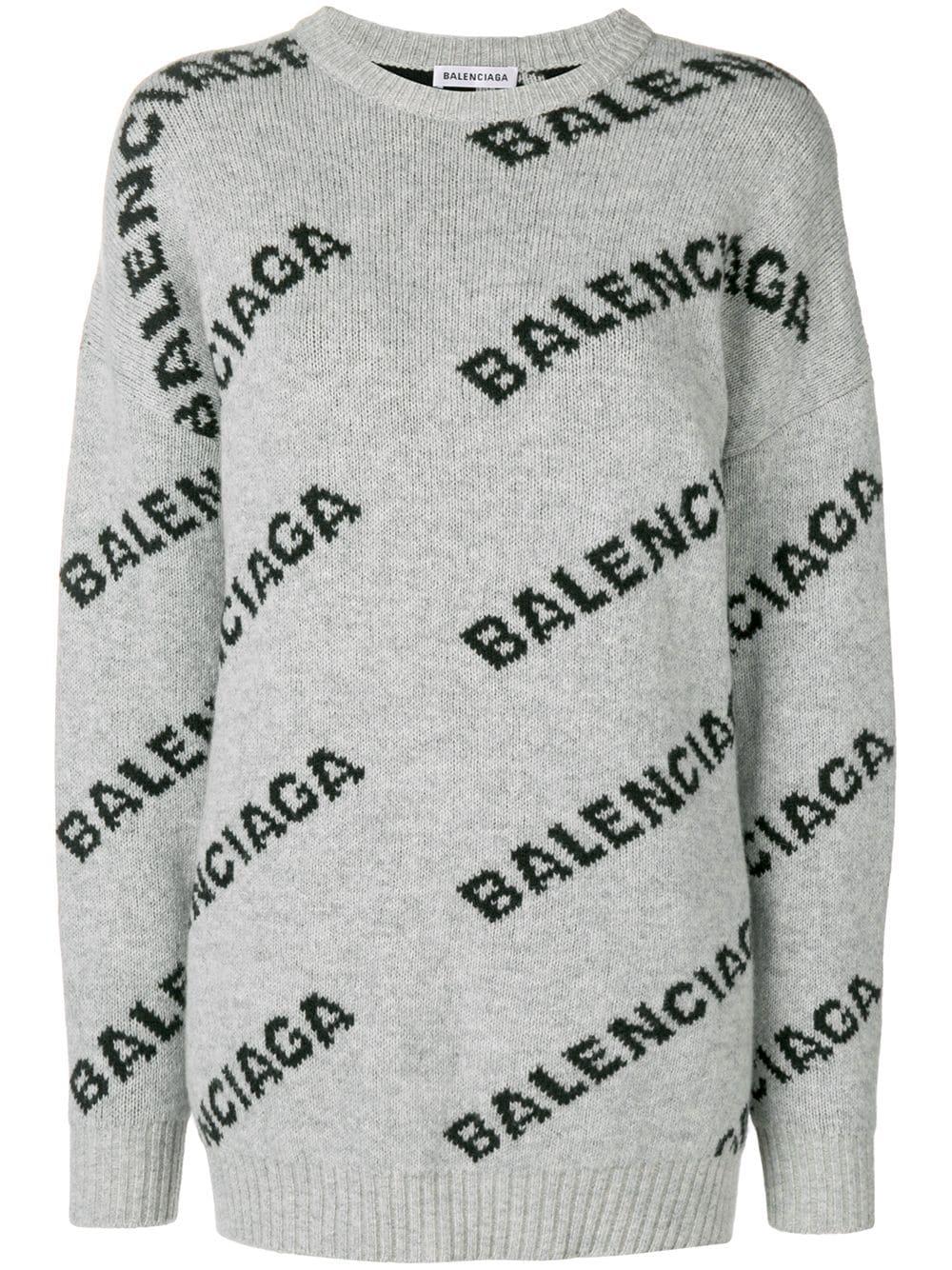Balenciaga свитер с круглым вырезом и логотипом