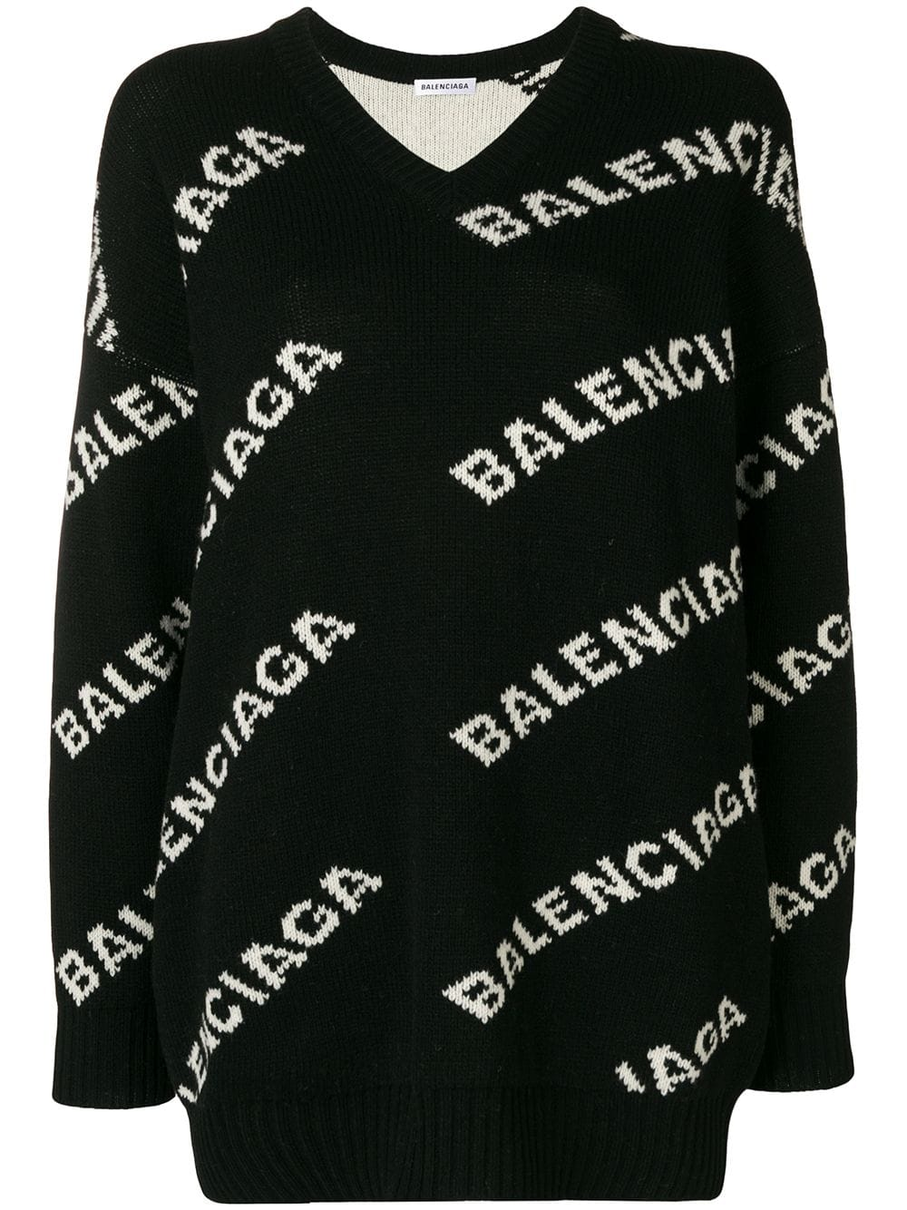 Balenciaga свитер с V-образным вырезом и логотипом