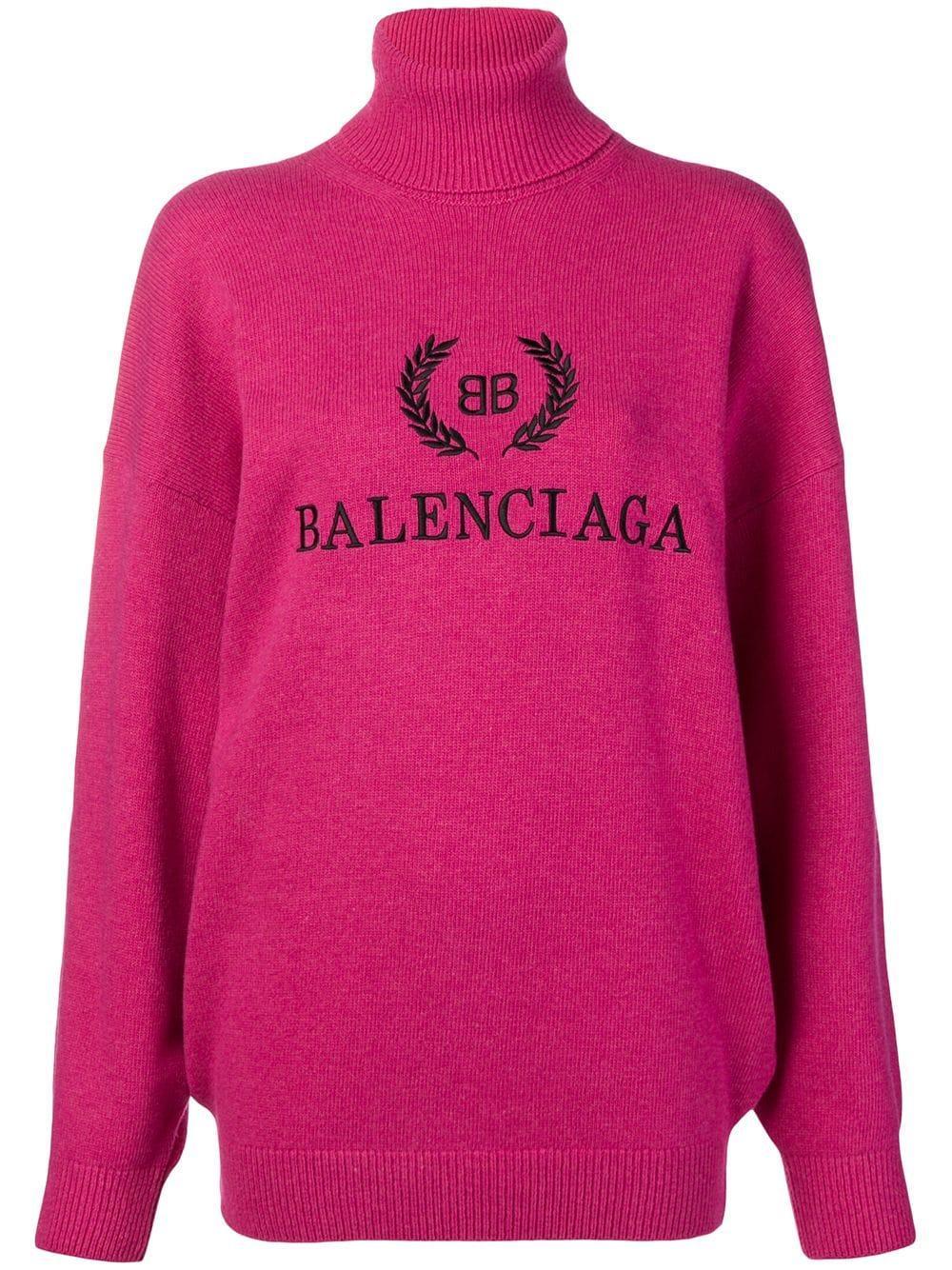 Balenciaga свитер с высокой горловиной и вышивкой логотипа
