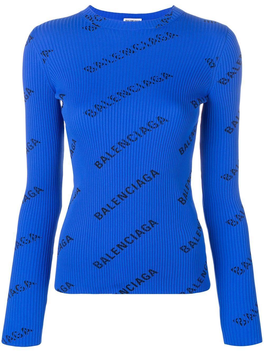 Balenciaga свитер в рубчик с логотипом
