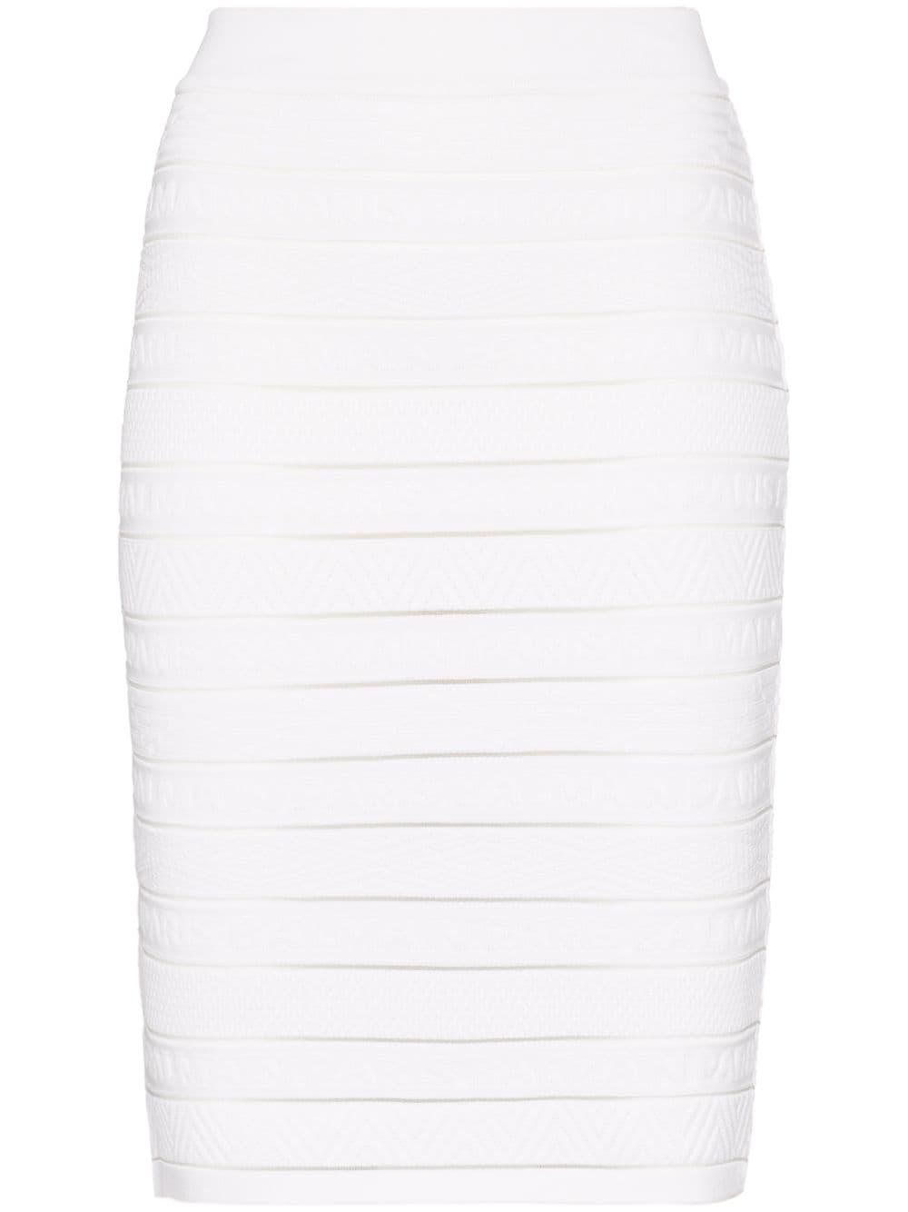 Balmain юбка-карандаш в полоску с логотипом
