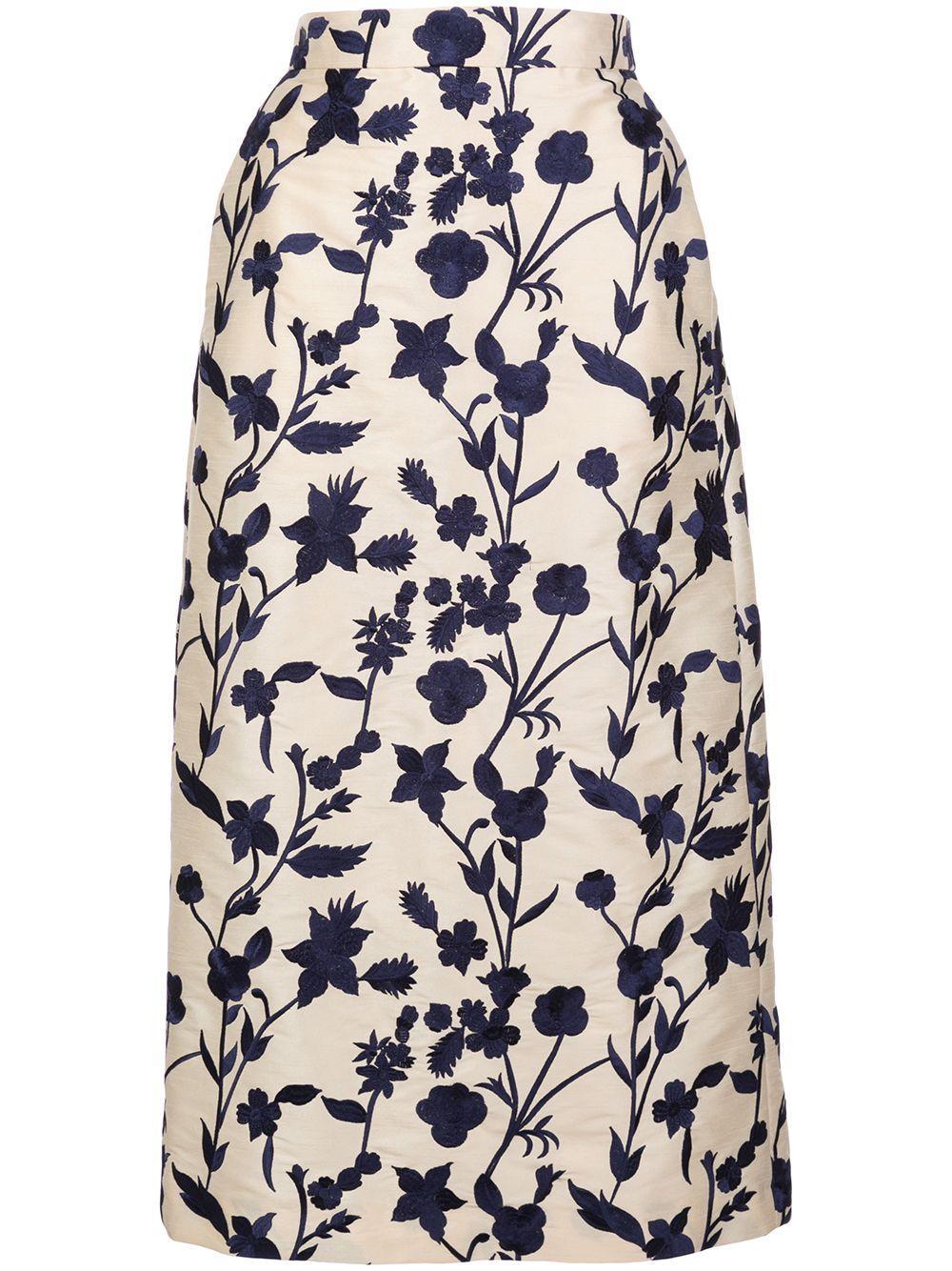 Brock Collection юбка миди с завышенной талией и цветочным принтом