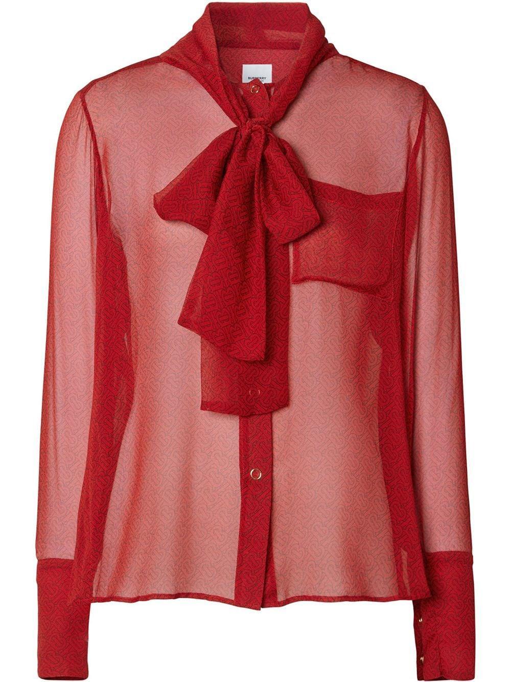 Burberry прозрачная блузка с бантом