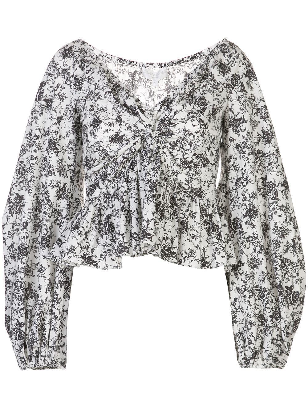 Caroline Constas укороченная блузка с цветочным принтом
