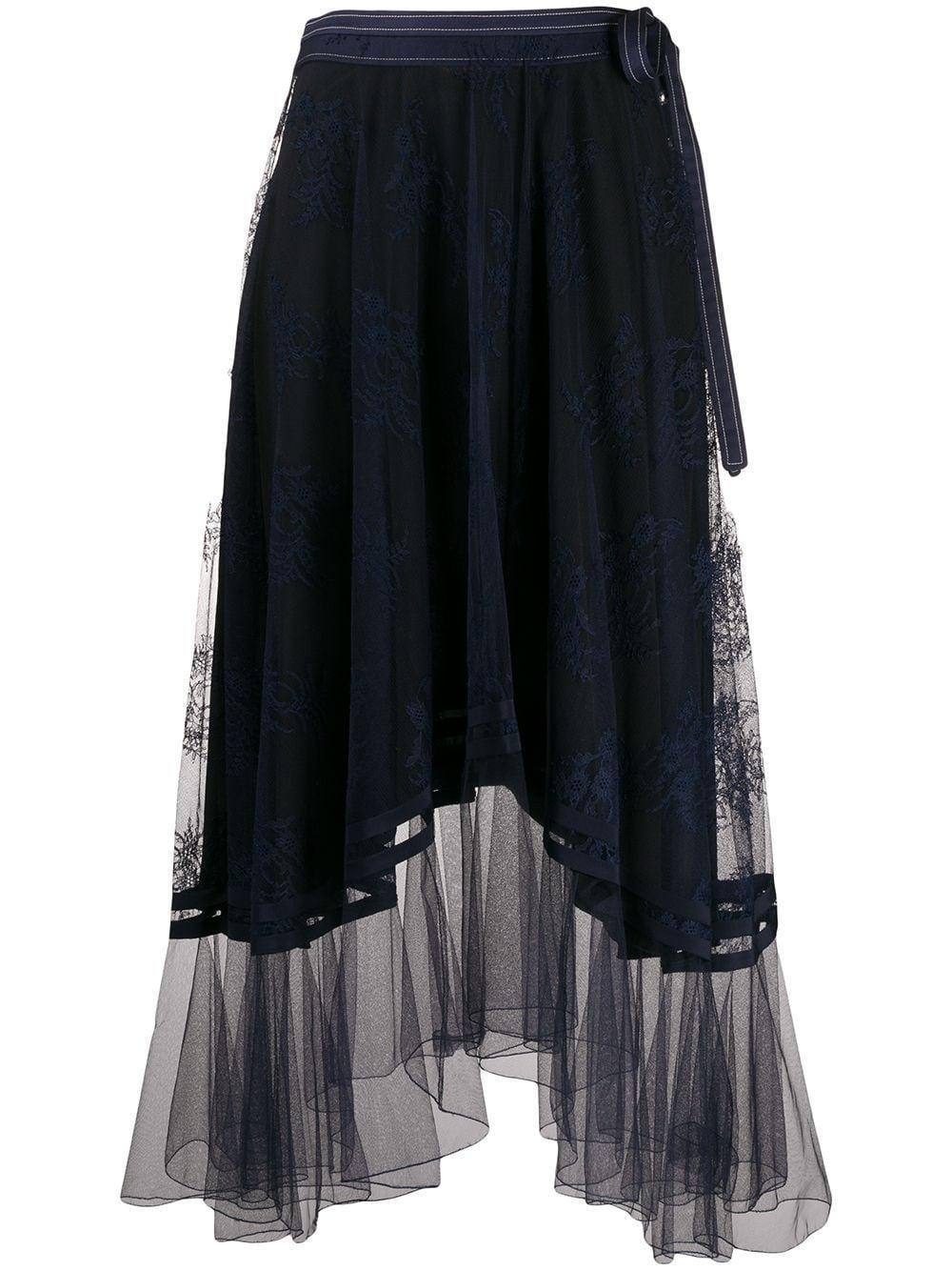 Chloé кружевная юбка миди асимметричного кроя