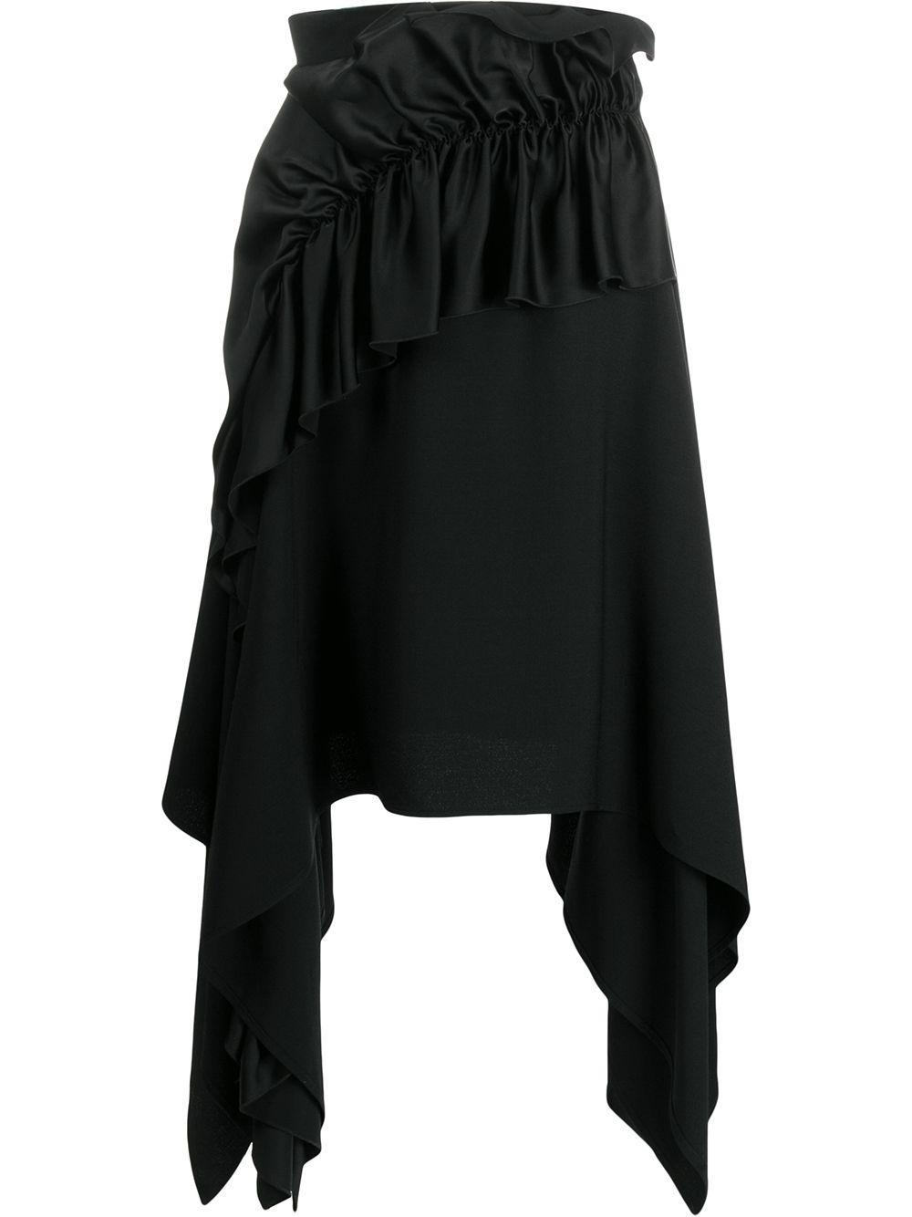 Christopher Kane креповая юбка с атласными оборками