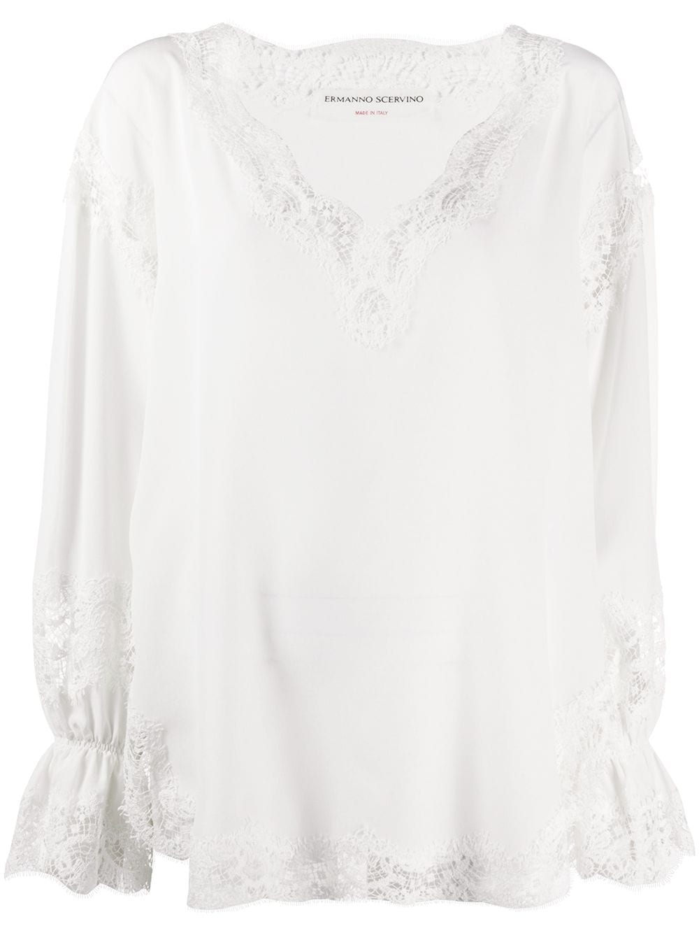 Ermanno Scervino scalloped lace silk blouse